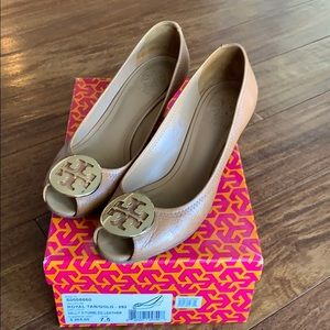 Tory Burch Sally 2-Tumbled leather wedges